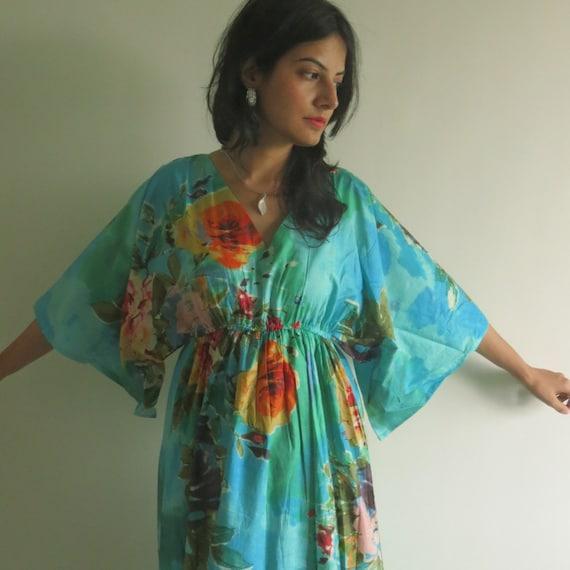 8823699a8e548 Butterfly Sleeves Empire Waist Floral Kaftan Dress Summer | Etsy