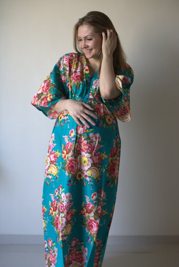 Maxi Dress Baby shower Gift Pregnancy friendly Maternity Maxis House Dress Floral Empire Waist Dress Butterfly Sleeves Maternity Kaftan