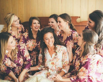 Eggplant Bridesmaids Robes Sets   Kimono Robes. Bridesmaids gifts. Getting ready robes. Bridal Party Robes. Floral Robes. Dressing Gown