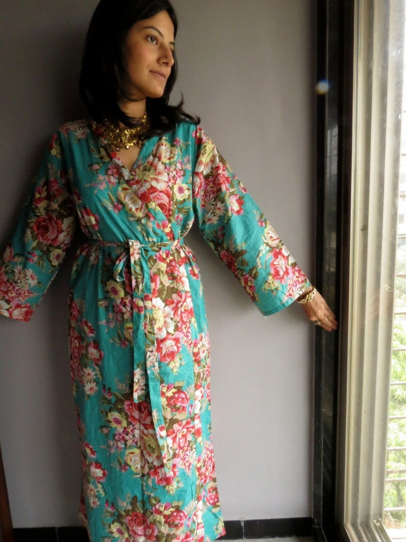 Ankle length Teal Kimono Robe Floral Crossover Robe..getting  fd0a9c72d