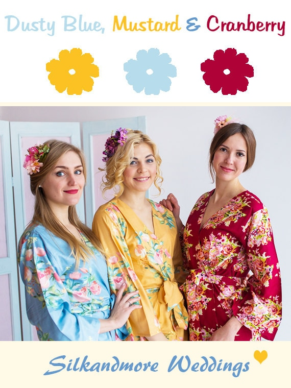 Dusty Blue, Mustard and Cranberry Wedding Color Bridesmaids Robes - Premium Rayon Fabric - Wider Belt and Lapels - Wider Kimono sleeves
