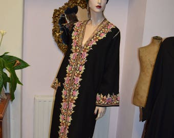 Fine Black Wool Embroidered Kashmiri Robe