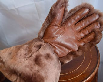 1940's faux fur and leather gauntlet gloves.