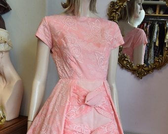 "1950's Flocked Pink Party Dress 36"" bust 26"" waist UK 8"
