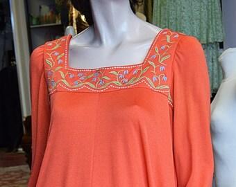 1970's Jean Varon, Tangerine Maxi Dress