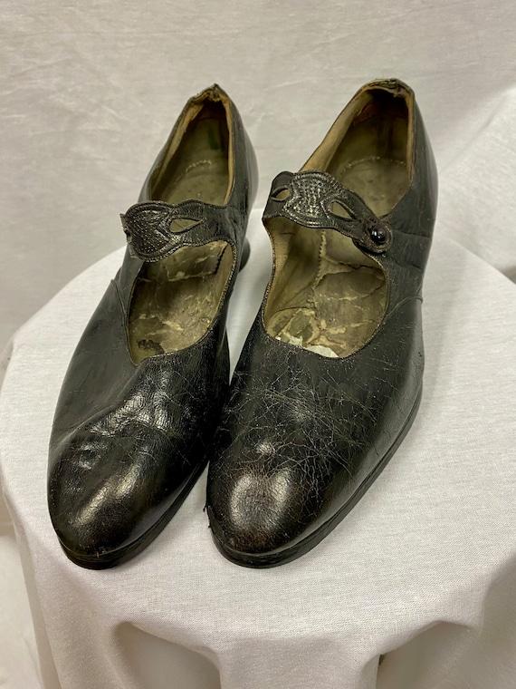 Edwardian Black Leather Mary Jane Shoes size UK 4