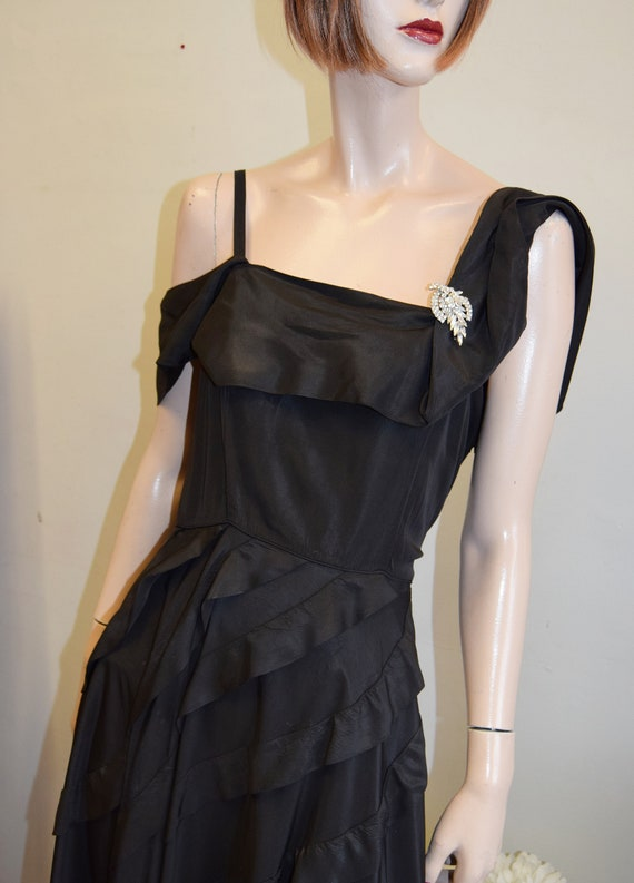 1950s Black Tiered skirt Ball Gown