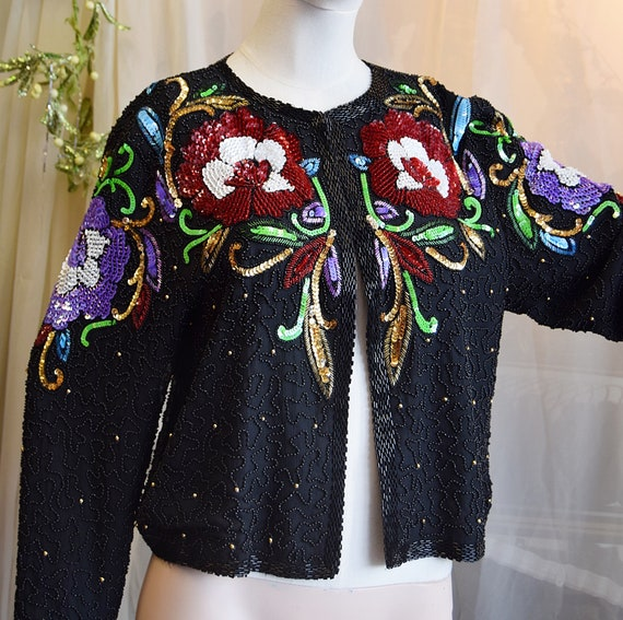 1980's Sequined Jacket by Frank Usher Medium