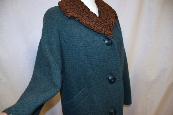 1950's Teal Boucle Wool Coat with Astrakhan Collar