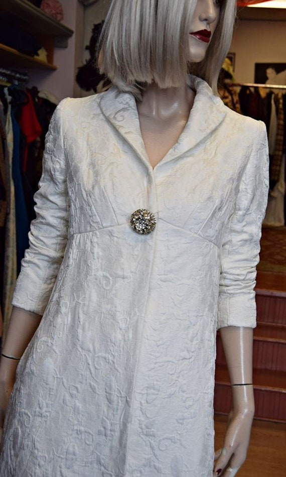 1960s White Quilted Evening coat