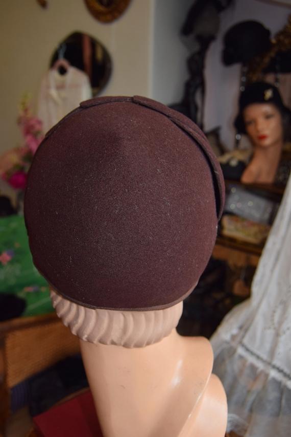 1930's Brown Felt, Juliet Cap or Skull cap - image 5