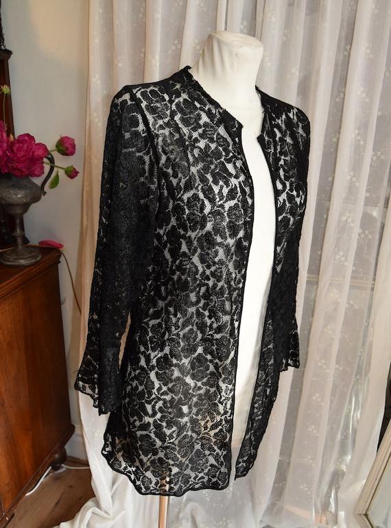 """Edwardian Black Lace Jacket 36"""" bust"""