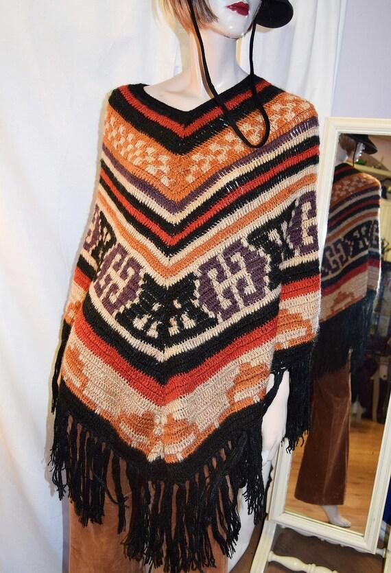 1970's Boho Knit Poncho