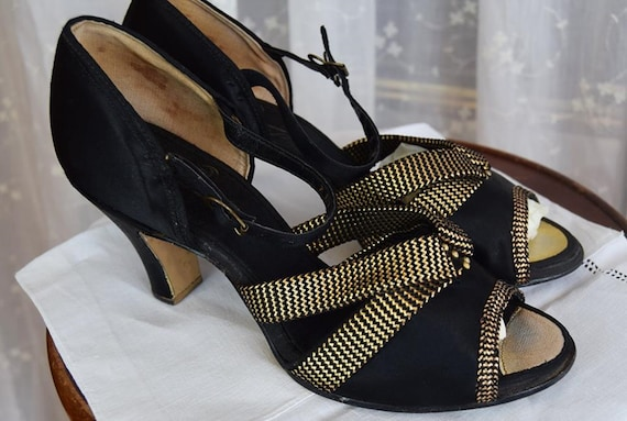 1930's Black Satin Evening Shoes  with Gold trim a