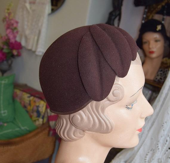 1930's Brown Felt, Juliet Cap or Skull cap - image 3