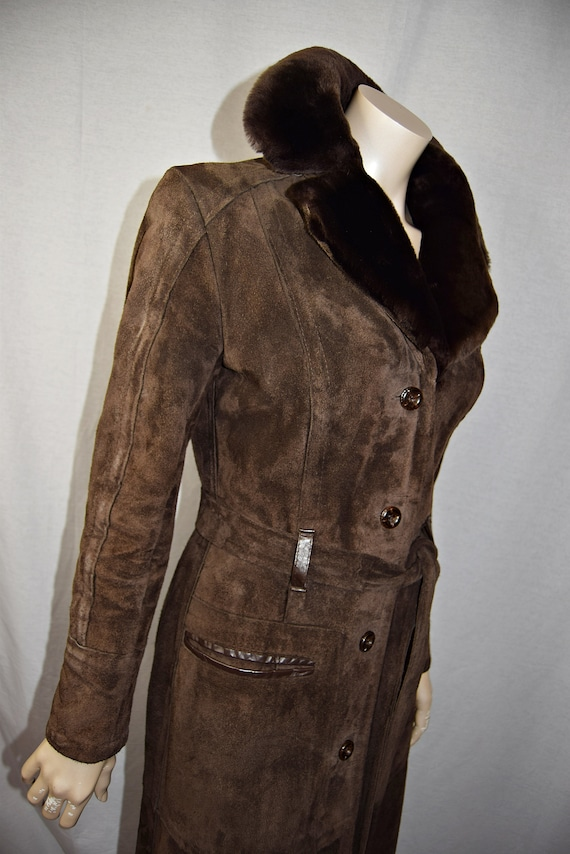 1970's Dark Brown, Full Length Trench Style Suede