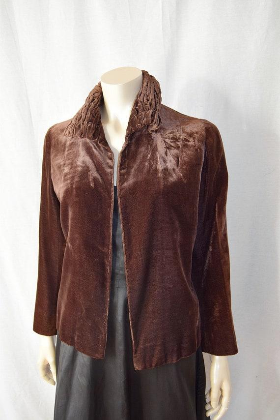 1930's Brown Silk Velvet Jacket