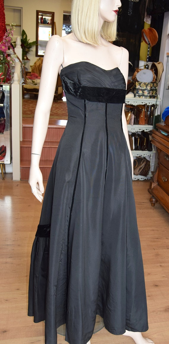 Late 1940s Black Taffeta Ball Gown