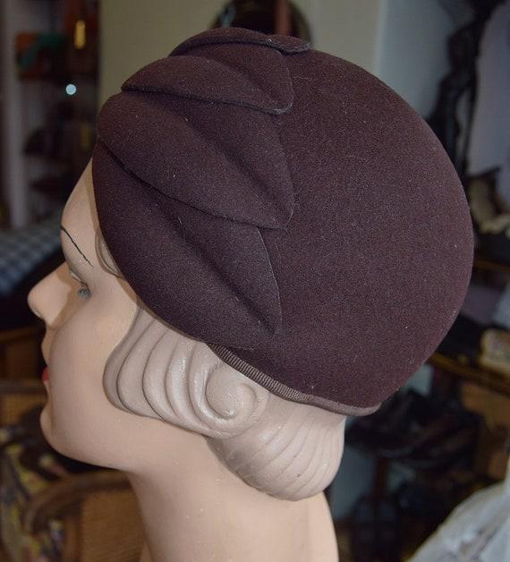 1930's Brown Felt, Juliet Cap or Skull cap - image 2