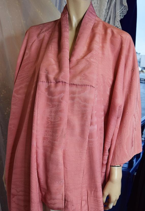 1970's Dusky Pink Silk Crepe Kimono
