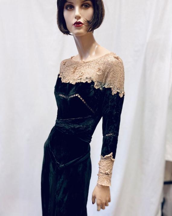 1930's Art Deco Silk Velvet  and Antique Lace Gown