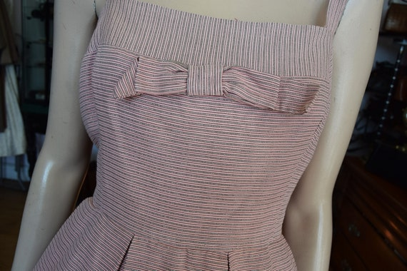 "Horrockses 1950's Pale Pink & Silver Dress, 38"" b… - image 3"