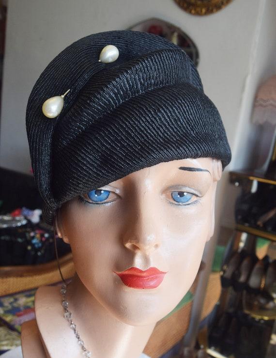 1930's Black Sisal Halo Hat
