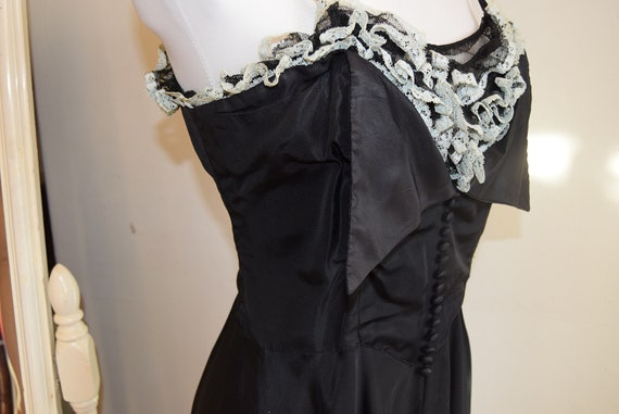 1940s Double Eleven Label, Taffeta Gown with Ruffl