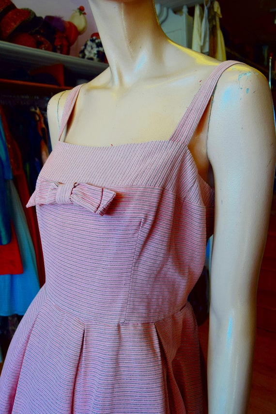 "Horrockses 1950's Pale Pink & Silver Dress, 38"" bu"
