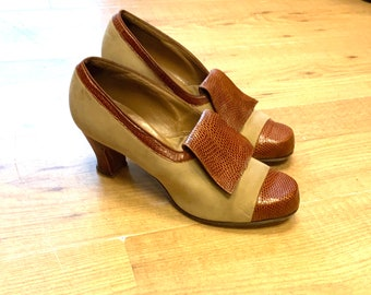 1940's Nubuck and Pressed Leather Shoes Size Uk7.5