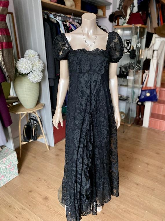 1930's  Black Lace Evening Dress