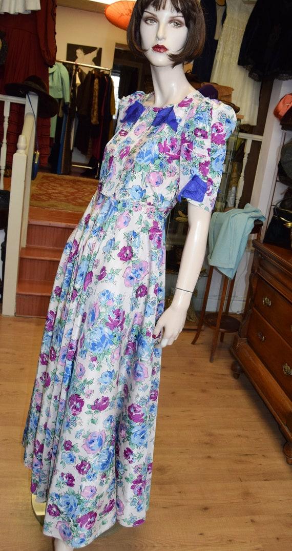 "1930's Garden Party Floral Gown 34"" bust 31"" waist"
