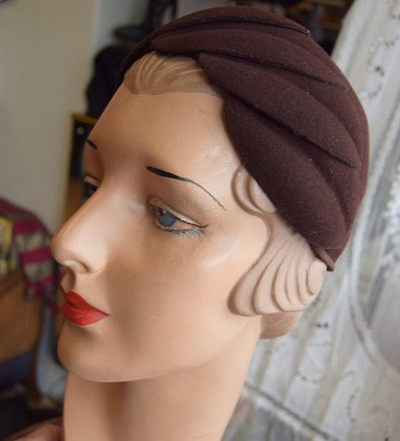 1930's Brown Felt, Juliet Cap or Skull cap - image 4