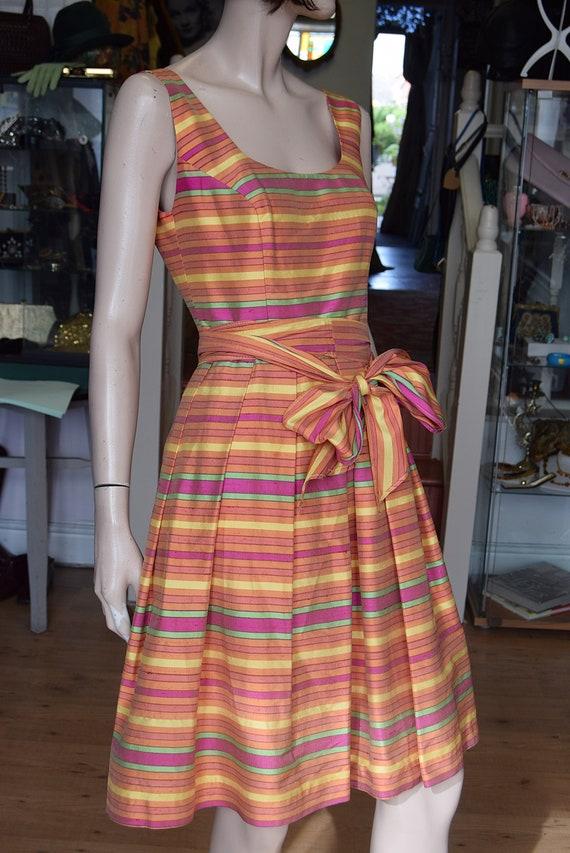 Raw Silk Rainbow Stripe Dress approx size Uk 10.