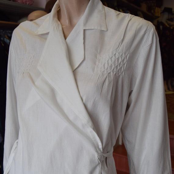 1930s White Cotton House Robe Free Size