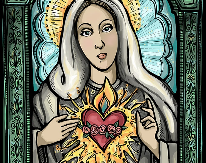 Virgin Mary, Blessed Mother Immaculate Heart Prayer for Compassion Holy Card