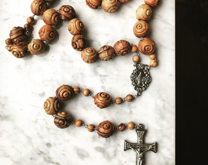 Large Carved Olive Wood Wall Rosary