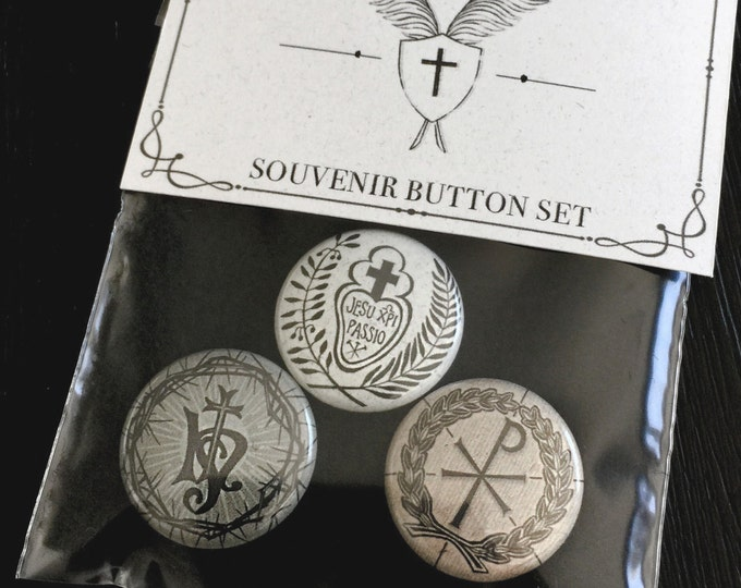 Handmade Button/ Pin Set Sacred Monograms of Christ
