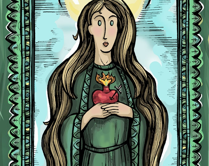 Virgin Mary, Green Scapular Holy Card, Badge of the Immaculate Heart of Mary