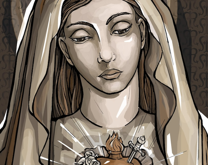 Immaculate Heart, Portrait of Mary Holy Card - Angelus Prayer or to the Heart of Mary