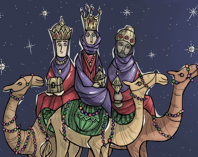 3 Magi, Wisemen - Christmas, Epiphany Large Postcard Style Greeting Cards
