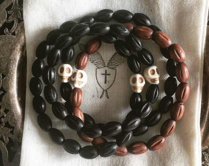 Men's Brown or Black Czech Wooden Beaded Bracelet with Horn Skull
