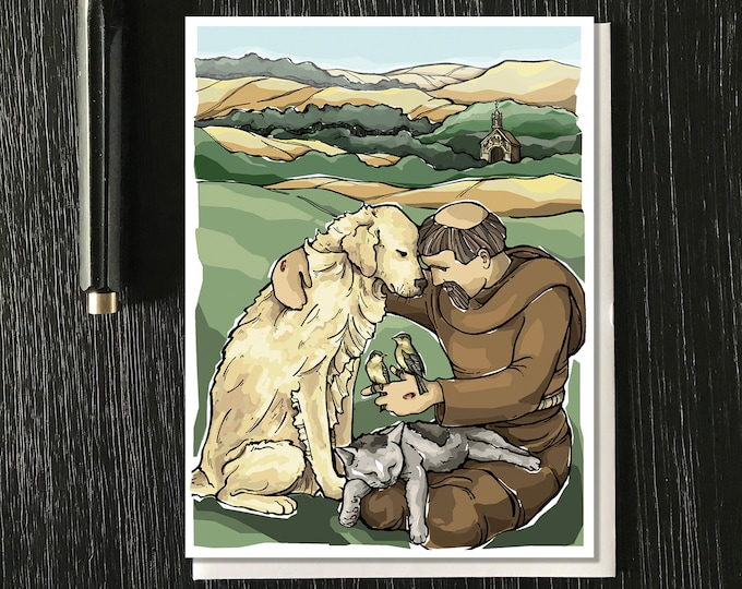 St Francis of Assisi with Animals Note Cards