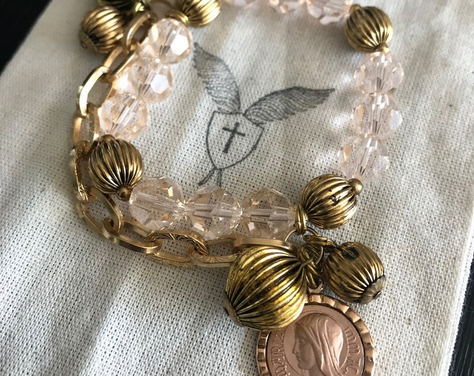 Handmade Rose Gold Beaded Bracelet with Marian Medal