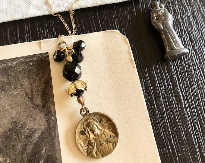 Ladies Vintage Sacred Heart Religious Medal Necklace with Vintage Black Beads and 14k Yellow Gold Chain