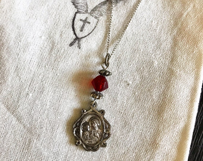 Ladies St. Joseph Vintage Religious Medal Necklace with Vintage Materials and 14k White Gold Chain