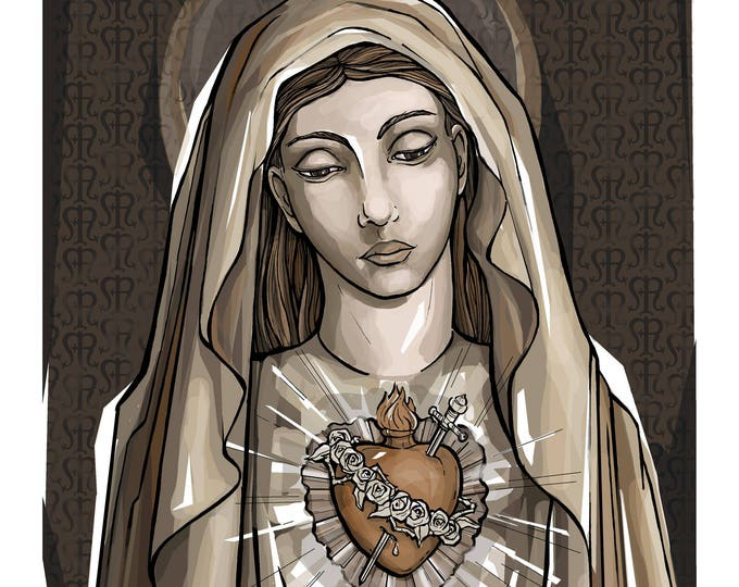 Immaculate Heart, Portrait of Mary Art Print