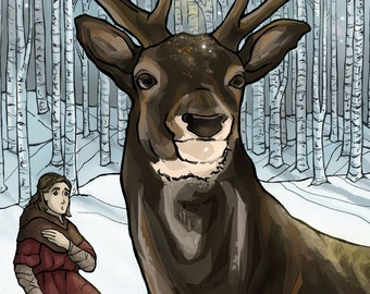 Prayer for Hunters, St Hubert and the Deer Holy Card