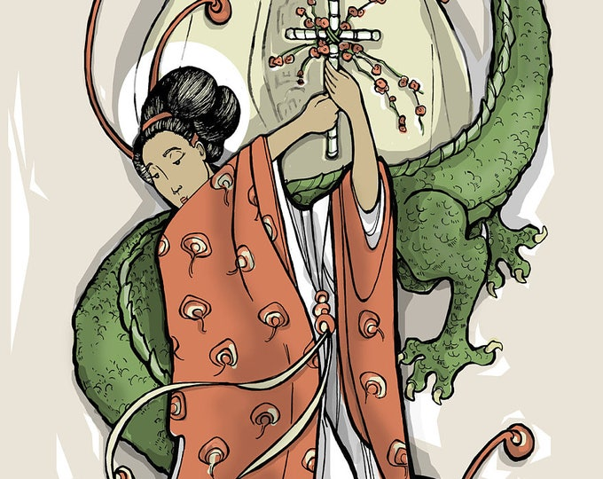 St. Margaret of Antioch and the Dragon Holy Card