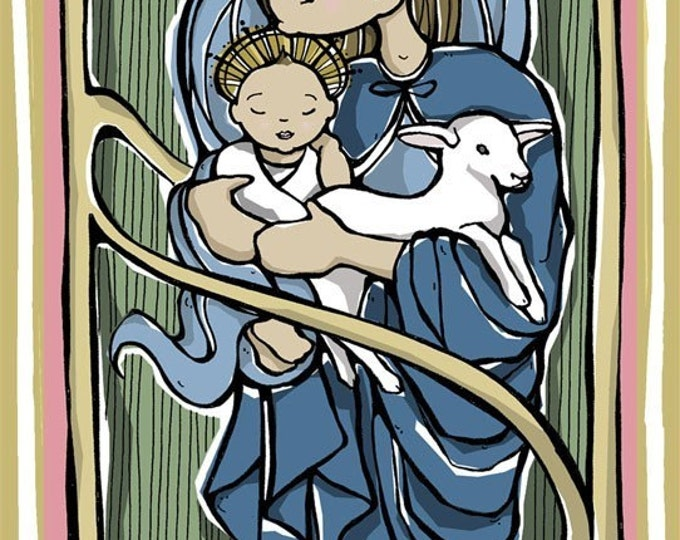 Virgin Mary with Christ Child and Lamb Prayer Card